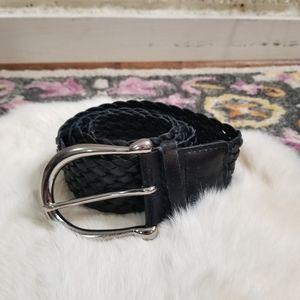Michael Kors Black Leather Braided Belt